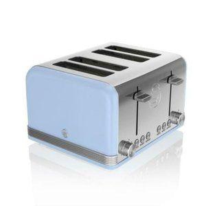 Swan ST19020BLN Retro 4 Slice Toaster, Blue
